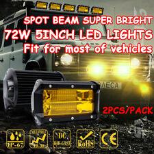 2PCS 5'' 72W LED Spot Beam Car Work Light Bar Fog Driving Lamp Amber Offroad SUV