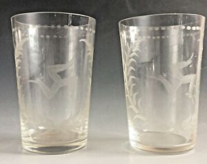 2 x antique etched Manx Isle of Man glass tumblers drinking glass