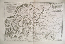 1780 Genuine Antique map of Scandanavia by Bonne