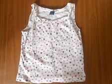 TU girls' white 100% cotton vest top with pink hearts, 2-3 years