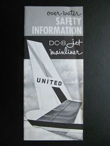 UNITED AIRLINES rare OVER WATER safety card DC-8 JET MAINLINER edition 6/1961
