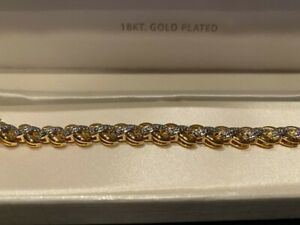 "Diamond Accent 18K Gold Plated 7.5"" Tennis Bracelet NEW Never Worn ORIG $60.00"