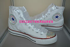 Custom Crystal Diamante Bling White Party Wedding Converse Size UK 3 4 5 6 7 8 9
