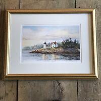 Signed Numbered CURTIS LIGHT Camden Maine Framed Print Art by Carol Sebold