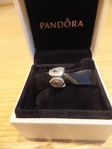 pandora silver charm with bigger clear stones