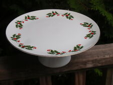 CRISTMAS HOLLY FIE PORCELAIN CAKE PLATE STAND 10.5 INCHES