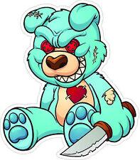 "#330 4"" Evil Psycho Teddy Bear with Knife Decal Sticker Motorcycle Helmet Laptop"
