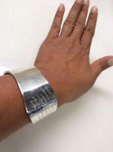 Sterling silver  925 Peaceful Navajo Inspired Cuff Inscribe bracelet Modernist