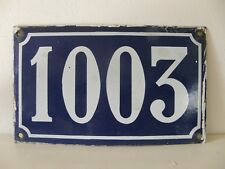 Large Antique French House Number 1003 , Blue Enamel On Steel.