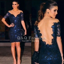 Sexy Blue Lace Floral Crochet Midi Evening BodyCon Backless Dress Party Prom Top