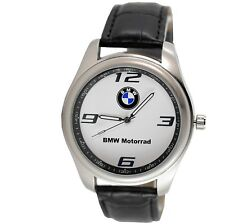 BMW MOTORRAD Mens Stainless Steel WHITE Dial Black Leather Strap Sport Watch