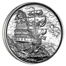 Privateer Series Storm Ultra High Relief 2 oz .999 Silver BU US Bullion Round