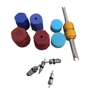 1* Car Air Conditioning Valve Core R134a A/C System Caps Kits W/ Remover Tool