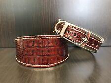 MEDIUM Leather Dog Collar LINED Greyhound Whippet MAHOGANY REPTILE PATTERN