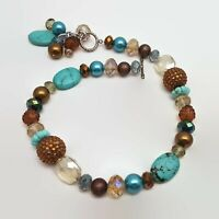 Chunky Faux Turquoise Beaded Toggle Clasp Necklace