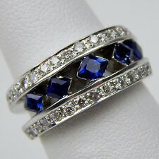 Sapphire & Diamond Triple Row Half Band Ring 14 kt White Gold Size 6 #0981
