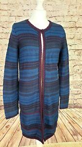 Monsoon Cotton Coatigan, Blue and Purple Striped, Brocade Edging, Size 12