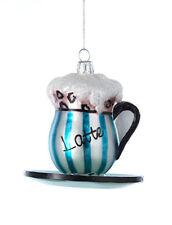 KURT ADLER KSA CAFE NOBLE GEMS GLASS LATTE COFFEE CUP & SAUCER XMAS ORNAMENT
