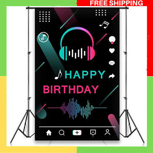 Tik Tok Backdrop Birthday Party Decorations For Girls Sweet Banner Photo Props