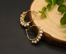 B15 Gold Plated Earrings Reigen Tyre with Freshwater Pearls