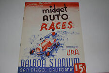Midget Auto Races Program, San Diego Balboa Stadium, June 11 1947, Original