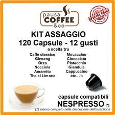 KIT ASSAGGIO 120 capsule NESPRESSO: Caffè, Ginseng, Nocciola, Pistacchio,etc