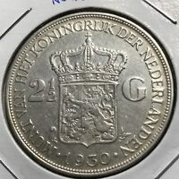 1930 NETHERLANDS SILVER 2 1/2 GULDEN HIGH GRADE BIG CROWN