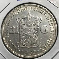 1930 NETHERLANDS SILVER 2 1/2 GULDEN HIGH GRADE BIG CROWN