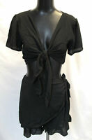 Moda Women's Woven Tie Frill Top & Skort Co-Ord SV3 Black Size US:10 UK;14 NWT