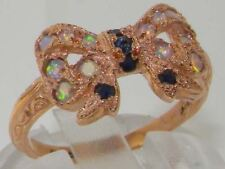 Luxury 9ct Rose Gold Ladies Sapphire & Fiery Opal Vintage Style Bow Ring