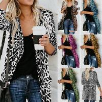 Women Long Sleeve Leopard Printed Cardigan Overcoat Jacket Tops Blouse Outwear