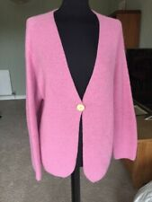 Candy Pink Handmade Spirit Of The Andes Size L Pure Alpaca Cardigan Jumper Top