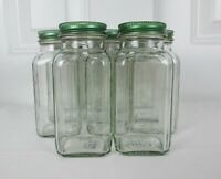 Lot of 11 Clean Empty Clear Glass 6oz Square Spice Jars w/Lids & Shaker Inserts