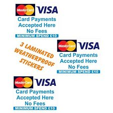 £10  Minimum spend  Credit Card Mastercard Visa Payment  Stickers x3   Shop Taxi
