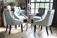 Maia Luxury Glass Dining Table Set with 4 Grey Portia Dining Chairs Round