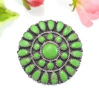Vintage Navajo Green Turquoise Brooch Pendant by Larry Moses Begay