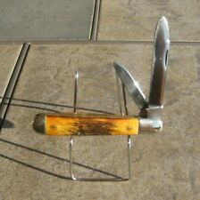 """Vintage Winchester Made in USA Stag Handle 2 Blade Trapper 4 1/2"""" Long"""