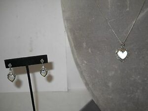 STERLING NECKLACE W/MOTHER-OF-PEARL & MARCASITE HEART CHARM & EARRINGS, SET!