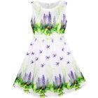 Sunny Fashion Girls Dress Purple Flower Summer Sundress Party Size 6-12