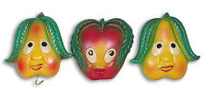VINTAGE/RETRO: Set of 3 Hand Painted Miller Studio Wall Plaque FRUIT FACES USA