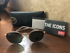 RAY BAN ROUND METAL ICON SUNGLASSES, Classic Green Lens, Brushed Gold Frame