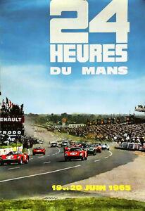 A3 24 Heures du Mans 19 et 20 Juin Le 1965 Auto Car Race Motor Deco Poster Print
