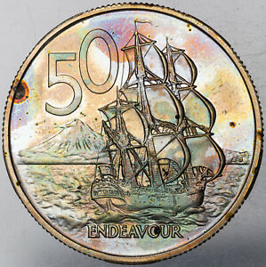 1980 NEW ZEALAND 50 CENTS PROOF MONSTER NEON TONED MULTI COLORED BU UNC (MR)