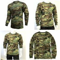 Mens Army Military Training Outdoor Woodland Camo Long Sleeve Tee T-Shirt
