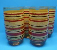 VTG MCM  Set of 8  Amber/Brown Glass Tumblers Gold/Yellow Red Stripes Speckled
