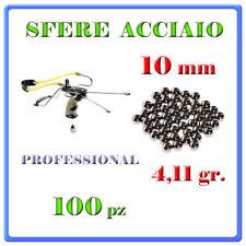 100 SFERE BIGLIE PALLINI 10 mm 4,11 gr ACCIAIO FIONDA SPORTIVA PROFESSIONALE