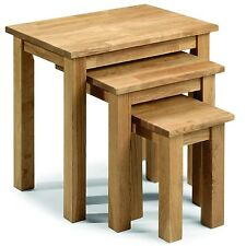 Julian Bowen Coxmoor Solid Wood American White Oiled Oak Nest of 3 Tables
