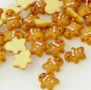 10pcs Mini Gingerbread man 11*10mm  Resin DIY Scrapbook Embellishment Nail Art