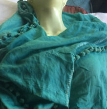 MATTA NY Dupatta Tassle Aqua Blue Green Silk Cotton Woven Large Shawl Scarf