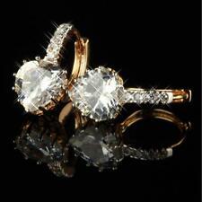 Ohrringe Herz Creolen Zirkonia weiß 750er Gold 18 Karat vergoldet O1747